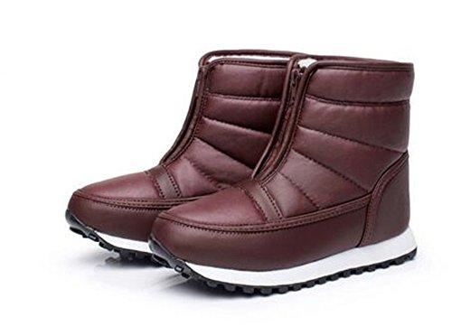 Rain Boots Snow SHOPPING Winter Cozy Jujube Red HAPPYLIVE Women's Fur Hiking up Waterproof Walking Winter Lining Warm Zip f6dZvqx