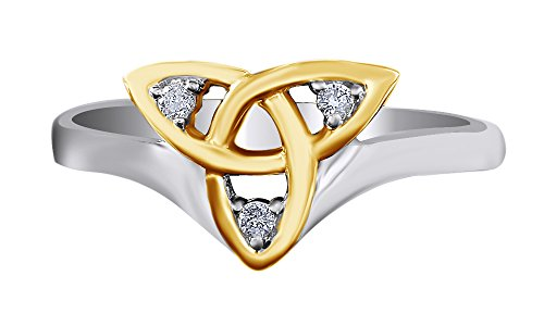 - Jewel Zone US Ladies Trinity Knot Natural Diamond Celtic Band Ring in 14k White Gold Over Sterling Silver