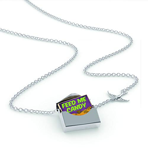 NEONBLOND Locket Necklace Feed Me Candy Halloween Pumpkin Top in a Silver Envelope -