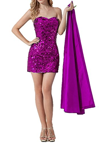 Fuchsia Short Party Detachable Sequin with Skirt ASBridal Women's Prom Cocktail Dress 5pvvwq
