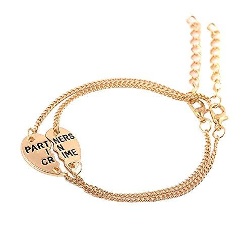 Also Easy Best Friends Bracelets Partners In Crime BFF 2 Split Heart Link Bracelet Gift Jewelry - Outlet Orlando In