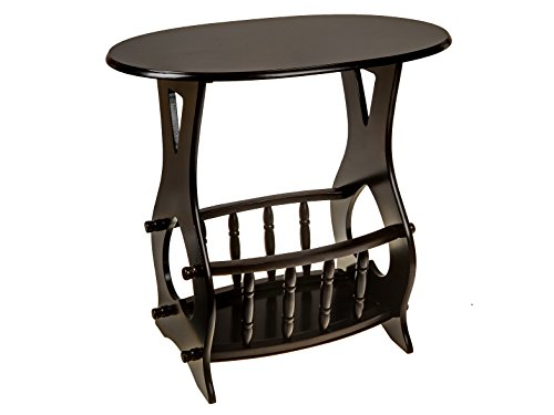 ih casa décor AF-1034 Wooden Side Oval Table with Magazine Rack