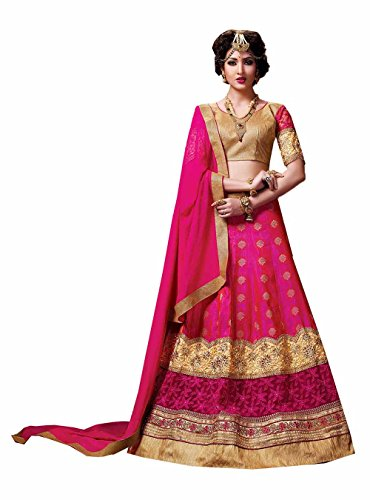 Da Facioun Womens Silk Fabric Pink Pretty Circular Lehenga Style 84032