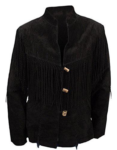 Classyak Women's Western Stylish Fringed Coat Suede Black Large