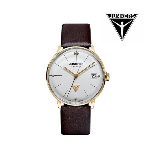 Junkers Bauhaus Lady Swiss Quartz watch 35mm Gold case 3ATM Silver dial 6075-4
