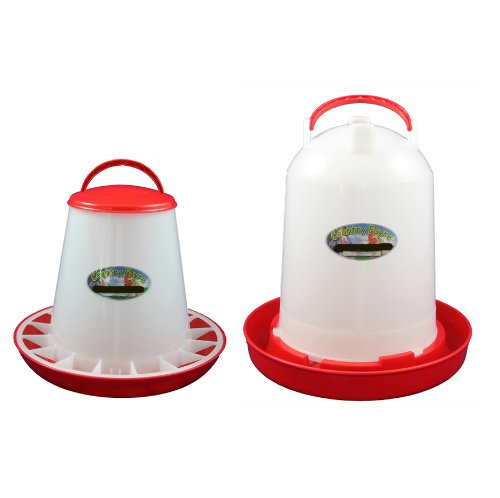 6 Litre Economy Drinker and 3kg Economy Feeder Red and White Set Country Fayre (UK) Ltd