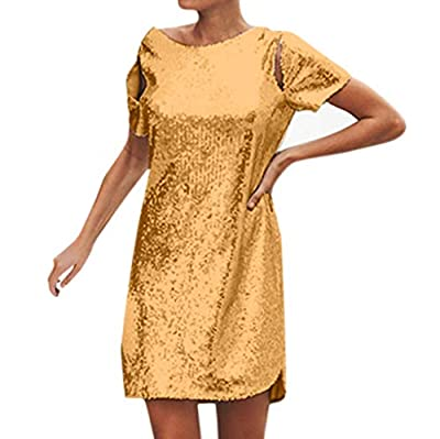JustWin Women's Short Sleeve Sequined Halter Dress Sexy Straight Backless Clubwear Cocktail Party Mini Dress