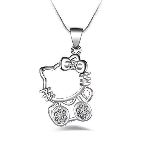 Angel Dream Hello Kitty Pendant Necklace Cute Cat Pendant Necklace  White