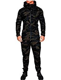 Mens Autumn Winter Camouflage Sweatshirt Top Pants Sports Suit Tracksuit