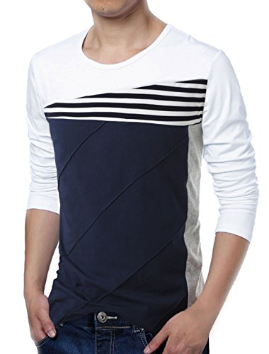 083ca075b78259 uxcell Men Color Block Striped Panel Round Neck Long Sleeve Pullover T-Shirt