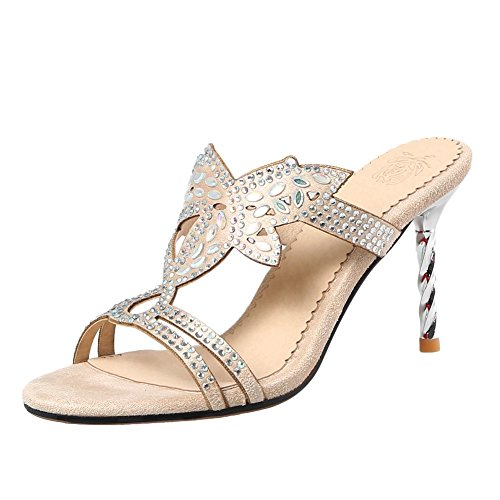 Mee Shoes Women's Chic Stiletto High Heel Sandals Apricot