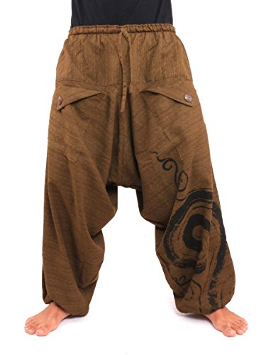 (jing shop Women's Harem Sarouel Pants with Spiral Print 100% Cotton One Size Brown)