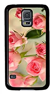 Cute Pink Roses Black Hard Case Cover Skin For Samsung Galaxy S5 I9600