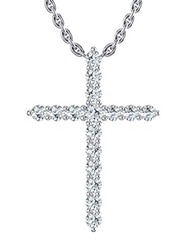 14k White Gold archetypical cross pendant set with 16 glistening round white diamonds (1/4 ct t.w, H-I Color, I1 Clarity), suspended on a 18