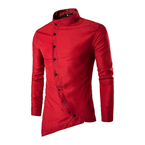 Dressin_Men's Clothes Clearance!Men's Fahsion Solid Button Casual Irregular Silm Fit Long Sleeve Blouse Tops T-Shirt