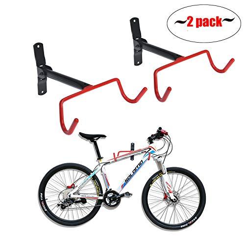 Auwey 2pcs Bike Wall Mount Hanger Bike Indoor Storage Rack, Foldable Bicycle Hook for Garage Bicycle Wall Holder