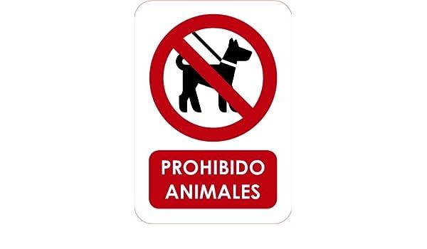 Señal de Prohibido Animales 14,8x21cm | Señaletica en Material PVC Resistente de 3mm