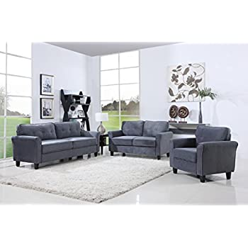 Classic Living Room Furniture Set   Sofa, Love Seat, Accent Chair (Dark Grey Part 38