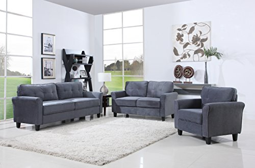Classic Living Room Furniture Set - Sofa, Love Seat, Accent Chair (Dark Grey)