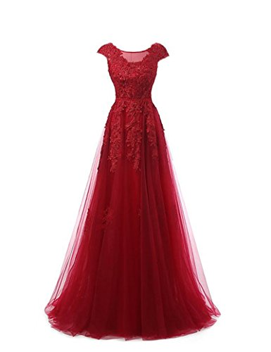 Miss-Meg Women's Long Formal Applique Tulle Prom Evening Dresses Red 18 (Cheap 80s Fancy Dress)