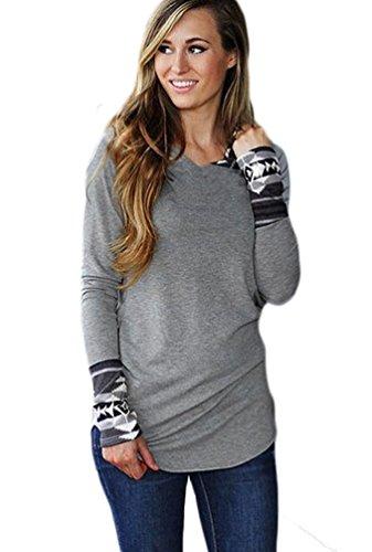 Qearl Women's Basic Geometric Print Long Sleeve Hooded Hoodie Sweatshirt Outwear (L, Gray)