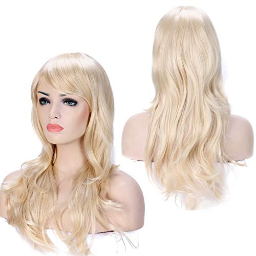 Anime Cosplay Synthetic Full Wig with Bangs for Women Girls 23'' Long Layered Wave Japanese Heat Resistant Fiber (linen blonde)]()