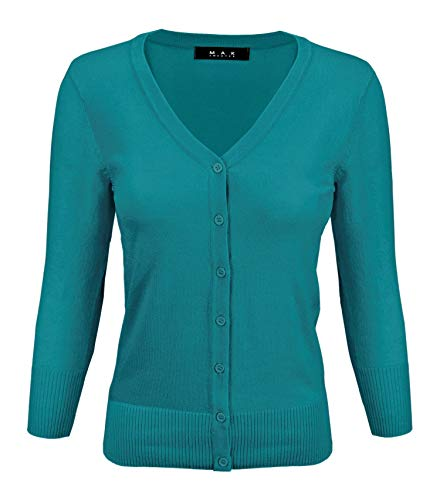 (YEMAK Women's 3/4 Sleeve V-Neck Button Down Knit Cardigan Sweater CO078-Teal-S)