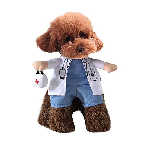 Pineocus White Doctor Style Pet Dogs Cosplay Coat Size XL (Doctor Dog Costume)
