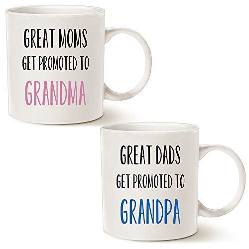 (MAUAG Funny Grandparent Coffee Mug Christmas Gifts, Great Moms/Dads Get Promoted to Grandma/Grandpa Best Birthday Gifts for Grandparent Cup White, 11 Oz)