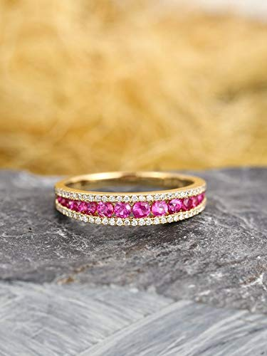 Natural Genuine Pink Sapphire Round Cut Diamond Wedding Ring Band Solid 14k Yellow Gold Engagement Half Eternity Stackable Matching Jewelry Bridal Women Anniversary Gift Set for Her Rose ()