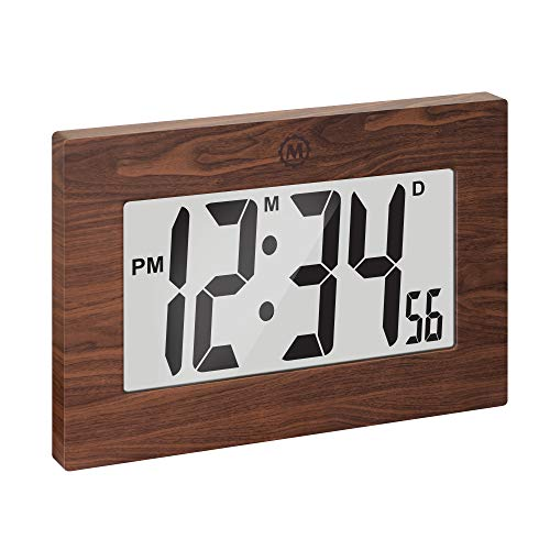 Marathon Large Digital Wall Clock with Fold-Out Table Stand. Size is 9 inches with Big 3.25 Inch Digits - Batteries Included - CL030064WD (Wood Tone)