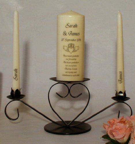 Claddagh Unity Candle Set - Personalised Claddagh Unity candle set including holder by Eden Candles