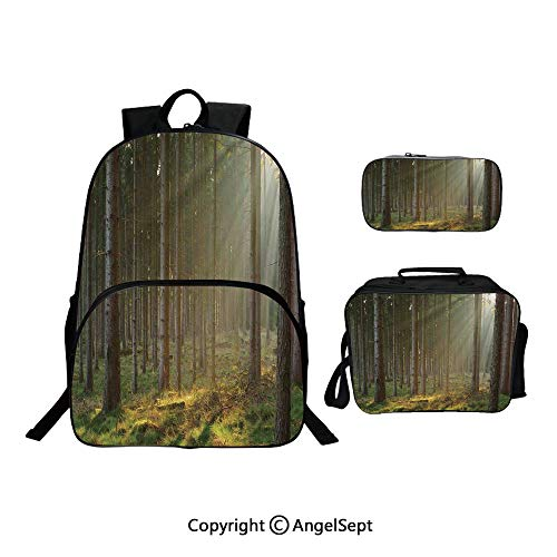 Fashion Casual School Student Backpack,Sunbeams Comes into Natural Misty Spruce Forest from the Right Top Picture Print Tan and Brown,Lightweight Daypack With Lunch Bag And Pencil Case For Girls