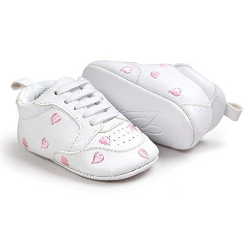 Baby Lauflernschuhe, Chshe Neugeboren Mädchen Liebe Gedruckt Stickerei Riemen Sohle Stoff Obere PU-Leder Säugling Schuhe Rosa