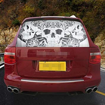 Uniqus Garland Design Car Sticker Decal Waterproof Backup Window 3 Skulls Styling 3D Emblem External Side Personalized Car Wall House Decoration, Size  130  70cm