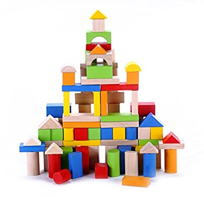 Classic Wooden Building Block Set - 100 Pieces - for Toddlers Preschool Age - Hardwood Plain & Colored Small Wood Blocks for Boys & Girls - Basic Educational Build & Play Toy