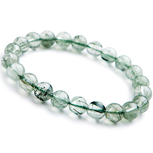 Green Rutilated Quartz (9mm Natural Green Rutilated Quartz Crystal Round Clear Beads Stretch Charm)