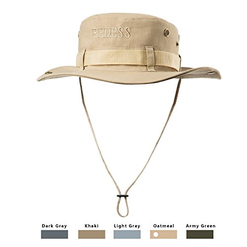REDESS Waterproof Boonie Sun Fishing Hat Outdoor UPF 50 Protection UV Protection Hat for Men & Women With Adjustable Chin Strap & Breathable for Hiking, Camping, Boating & Outdoor Adventures. - Boonie Hat Woven Hat