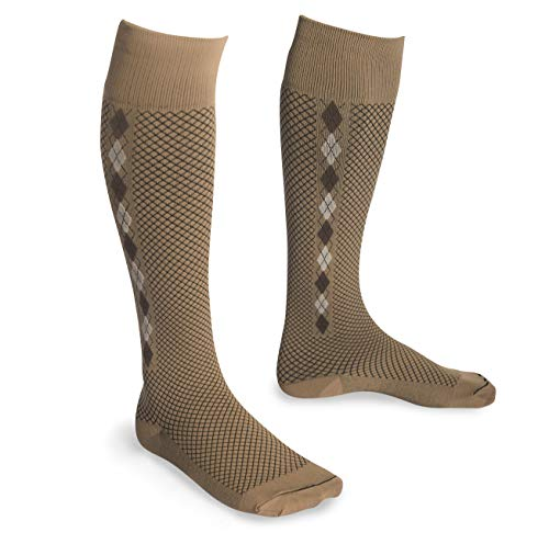 EvoNation USA Made Men & Women Quilted Mini Argyle Graduated Compression Socks 15-20 mmHg Medical Quality Knee High Orthopedic Pressure Support Stockings Hose - Best Fit Comfort Top (XL, Tan)