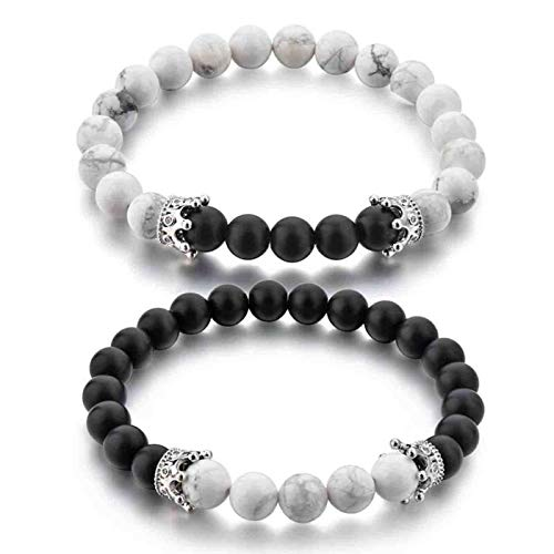 Hot And Bold Couple & Combo Natural Stones Reiki/Yoga Healing Stylish Distance Bracelet. ❤️Valentine Gifts for Him & Her ❤️ (Onyx + Howlite)