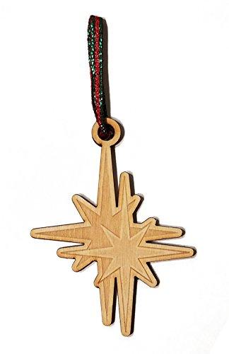 North Star Laser Engraved Wooden Christmas Tree Ornament Gift Seasonal Decoration (Ornament Northstar)