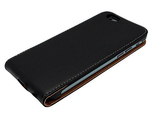 Mobilefox Robin Handy Flip Case Klapptasche mit Magnetverschluss für Apple iPhone 7 Schwarz - Etui Schutzhülle Cover Handytasche