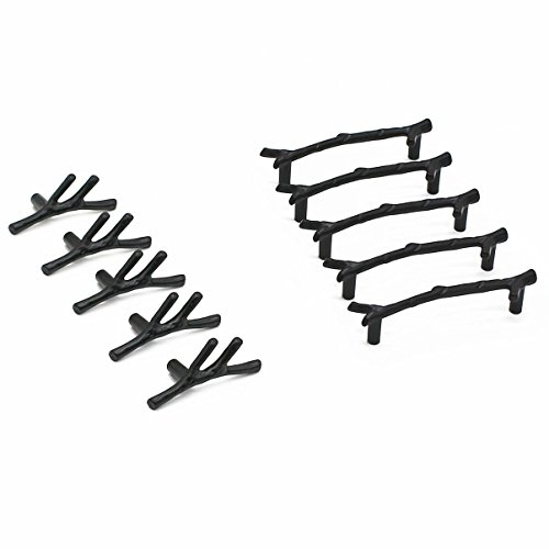 Selling Wonderful Black Zinc Alloy Twig Branch Zinc Alloy Decorative Cabinet Wardrobe Furniture Door Drawer Knobs Pulls Handles With Matched Screws Hardware Décor (5PCS KNOBS AND 5PCS PULLS)