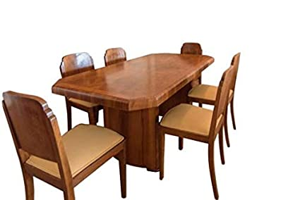 Amazon.com: OAM Art Deco Dining Table Walnut: Home & Kitchen