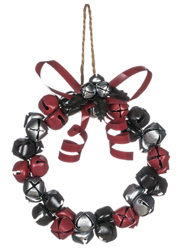 Red Silver and Black Jingle Bells Metal Wreath Christmas Ornament