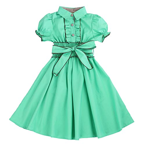 MARIA ELENA - Toddlers and Girls Belted Puff-Sleeve Safari Dress in Green Lagoon 3T