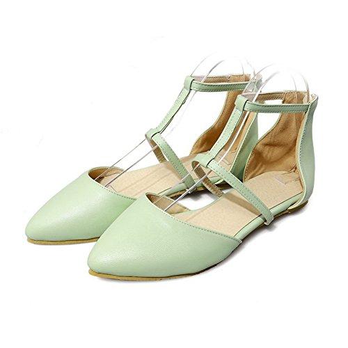 Aalardom Femmes Fermé-orteil Talons Bas Pu Solide Sandales À Boucle Lumineuse Vert