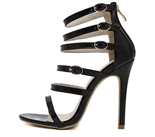 YCMDM Womens cinturino alla caviglia pompa i pattini romano Sandali con tacco Hollow Charme Scarpette Scarpe , black , 38