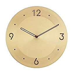 Modern Brass Wall Clock Mute Non-Ticking Quartz Decorative Battery Operation Wall Clock Nordic Living Room Kitchen Office School Wall (Color : A, Size : 12IN)
