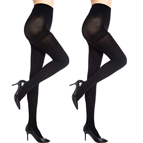 MANZI 2 Pairs Women's Run Resistant Control Top Panty Hose Opaque Tights(X-Large,Black)